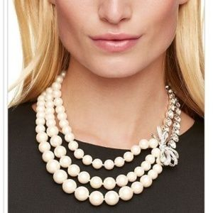 Kate spade bridal crystal & pearl tiered necklace